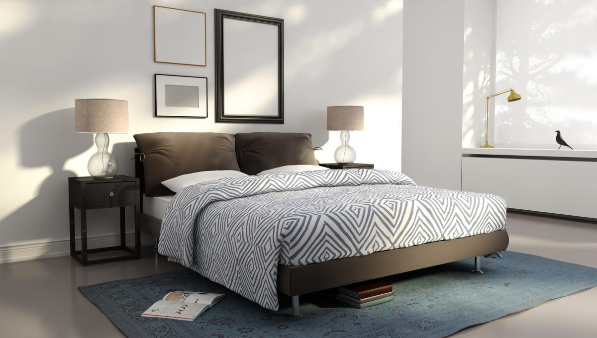Contemporary elegant, white shiny atmospheric bedroom